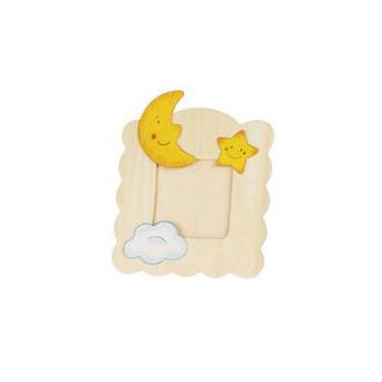 Výtvarné a kreativní hračky - Dřevěný rámeček na fotky k vymalování - Měsíček