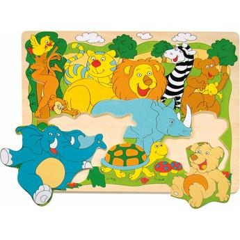 Puzzle - Puzzle na desce - Veselá africká zvířátka