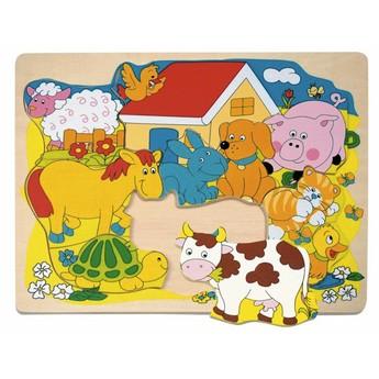 Puzzle - Puzzle na desce - Veselá domácí zvířátka