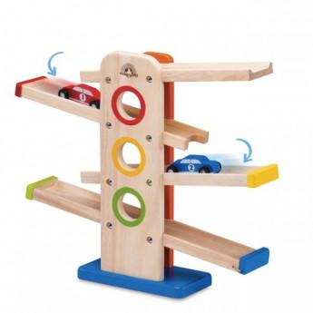 Motorické a didaktické hračky - Dřevěný tobogán s autíčky