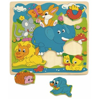 """Puzzle - Puzzle na desce """"Zvířátka-Modrý slon"""""""