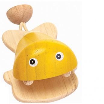 Dřevěné kastaněty Rybka, žlutá