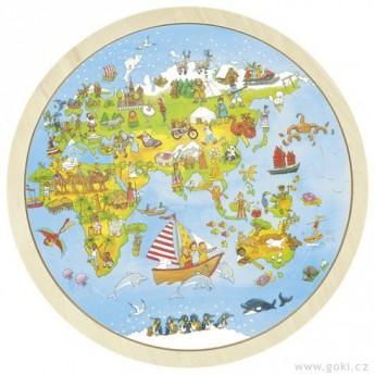 Puzzle - Oboustranné puzzle – Cesta kolem světa, 56 dílů