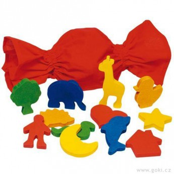 Motorické a didaktické hračky - Didaktická hra – Poznej hmatem tvar, 12 dílů
