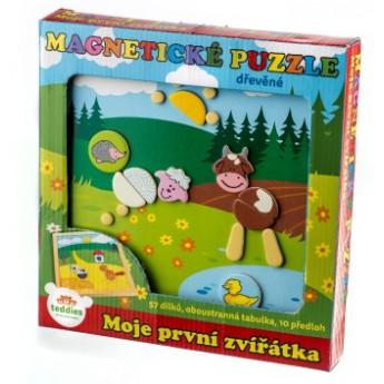 Puzzle - Magnetické puzzle dřevěné Moje první zvířátka 57 dílků