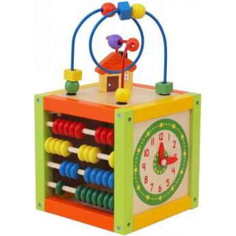 Motorické a didaktické hračky - Dřevěná edukační kostka s labyrintem