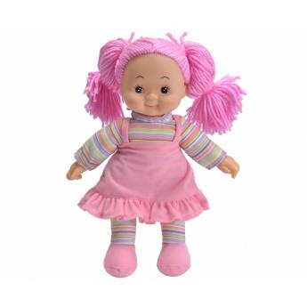 Pro holky - Panenka Cheeky látková 38 cm růžové šaty