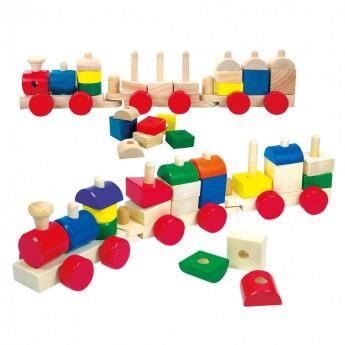 Motorické a didaktické hračky - Dřevěný vláček 21 dílů