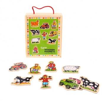 Školní potřeby - Dřevěné magnetky v krabici Farma 20ks
