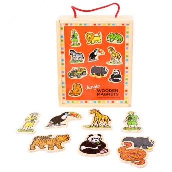 Školní potřeby - Dřevěné magnetky v krabici Jungle 20ks