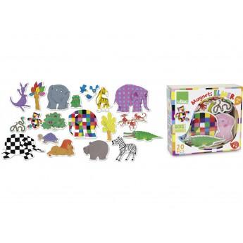 Školní potřeby - Dřevěné magnetky slon Elmer 20ks