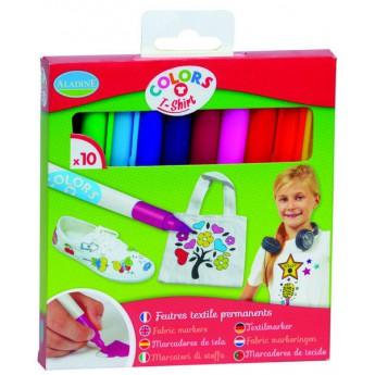 Výtvarné a kreativní hračky - Fixy na textil, sada 10 ks