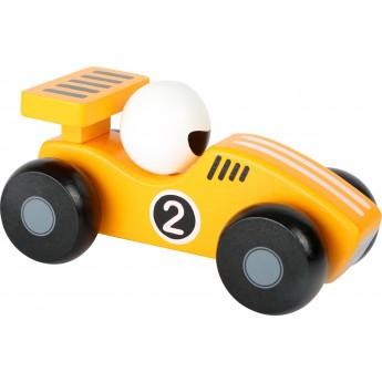 Dřevěné závodnické autíčko - žluté