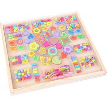 Motorické a didaktické hračky - Navlékací korálky Barevná zahrádka