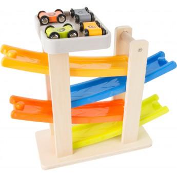 Motorické a didaktické hračky - Dřevěná autodráha se 4 autíčky