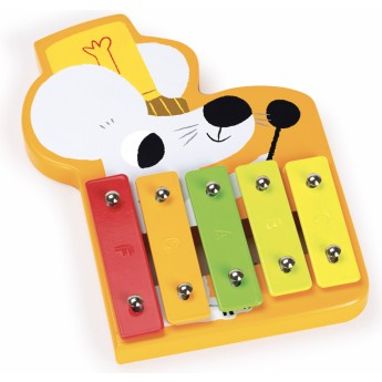 Dětské hudební nástroje - Dřevěný xylofón Myška