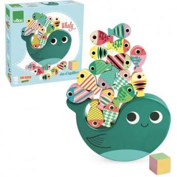 Motorické a didaktické hračky - Dřevěná balanční hra Velryba