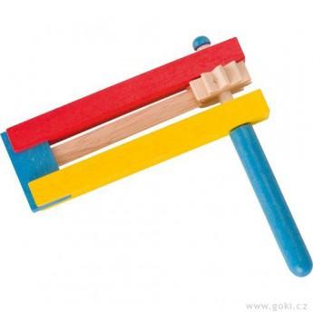 Dětské hudební nástroje - Barevná dřevěná řehtačka