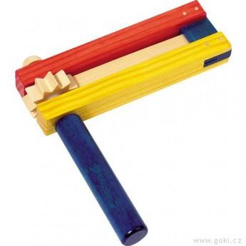 Dětské hudební nástroje - Barevná řehtačka ze dřeva