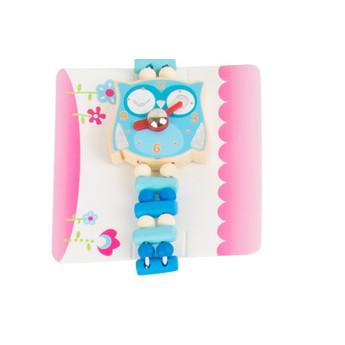 Pro holky - Dětské dřevěné hodinky Sova - modré