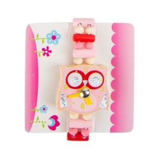 Pro holky - Dětské dřevěné hodinky Sova - růžové