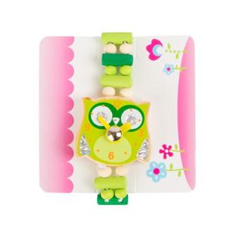 Pro holky - Dětské dřevěné hodinky Sova - zelené