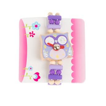 Pro holky - Dětské dřevěné hodinky Sova - fialové