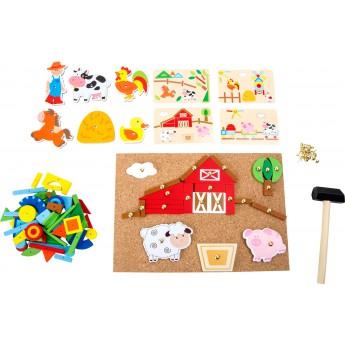 Motorické a didaktické hračky - Dřevěná kreativní hra Farma
