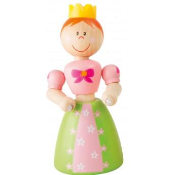 Dřevěná hračka do ruky Princezna - zelené šaty