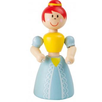 Pro holky - Dřevěná hračka do ruky Princezna - modré šaty