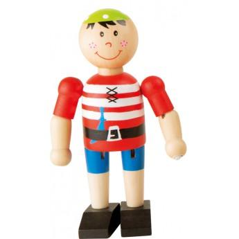 Pro kluky - Dřevěná hračka do ruky Pirát - červený