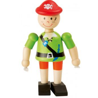 Dřevěná hračka do ruky Pirát - zelený