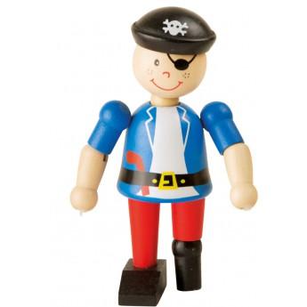 Pro kluky - Dřevěná hračka do ruky Pirát - modrý