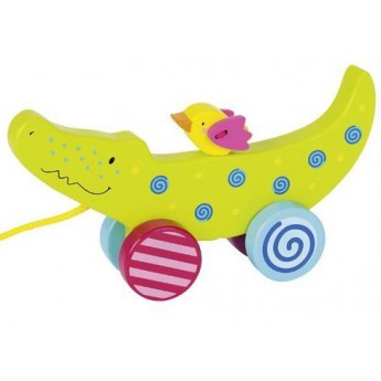 Pro nejmenší - Tahací hračka ze dřeva – Krokodýl
