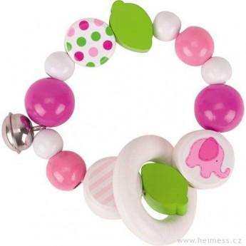 Pro nejmenší - Růžové slůně – elastický kroužek s rolničkou