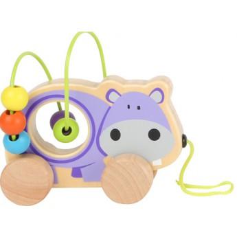 Motorické a didaktické hračky - Tahací zvířátko s labyrintem - Hrošík