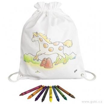 Výtvarné a kreativní hračky - Pytlík baťůžek na vymalování + voskovky, Koník