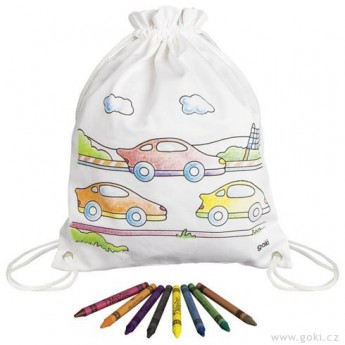 Výtvarné a kreativní hračky - Pytlík baťůžek na vymalování + voskovky, Autíčka