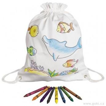Výtvarné a kreativní hračky - Pytlík baťůžek na vymalování + voskovky, Mořská zvířátka