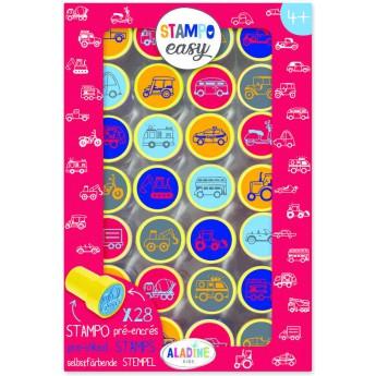 Výtvarné a kreativní hračky - Samonamáčecí razítka StampoEasy, auta