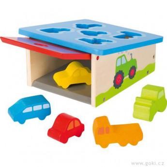Motorické a didaktické hračky - Vkládačka garáž s autíčky