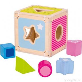 Vkládačka – dřevěný box + 5 kostek