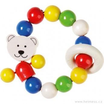 Pro nejmenší - Dřevěný kroužek chrastítko Medvídek