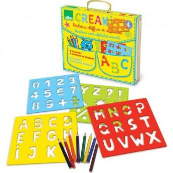 Výtvarné a kreativní hračky - Dřevěné šablony - Abeceda a čísla