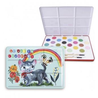 Výtvarné a kreativní hračky - Velké vodové barvy v plechové krabičce kočka