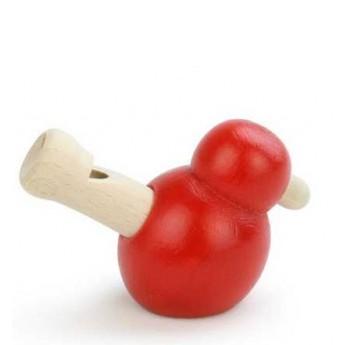 Dřevěná píšťalka ptáček - červený