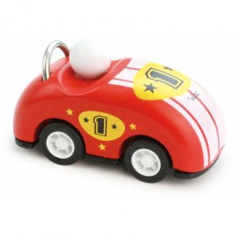 Pro kluky - Dřevěné závodní auto kabriolet zpětný chod - červené