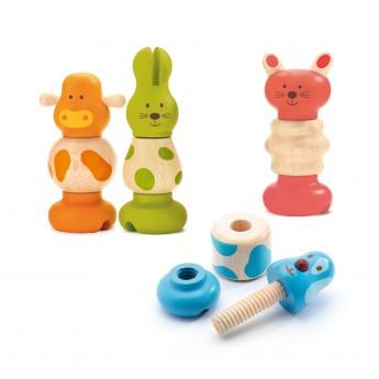 Motorické a didaktické hračky - Dřevěná šroubovací zvířátka