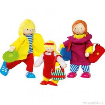 Panenky do domečku – ohebné panenky rodina dovolené, 3 ks