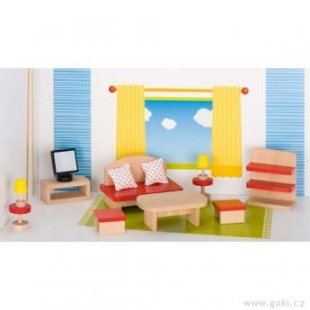 Pro holky - Nábytek pro panenky basic – obývací pokoj 13 dílů